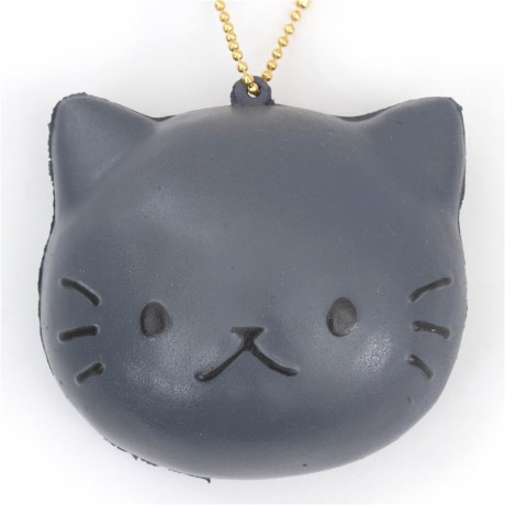 Faulty - cute grey cat face bread bun squishy charm kawaii Cafe Sakura - Cute Squishy Shop