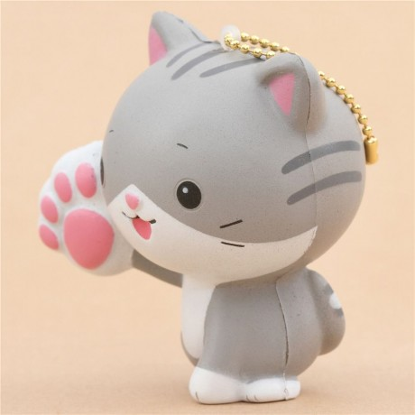 Grey Squishy Cat : grey and white cat animal one paw up squishy - Cute Squishy Shop