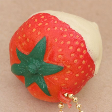 Cafe De N Strawberry Squishy : red strawberry with pale yellow sauce squishy cellphone charm Cafe de N - Cute Squishy Shop