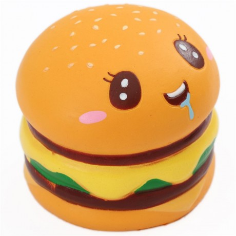 Squishy Hamburger : scented double hamburger with a face food squishy - Cute Squishy Shop