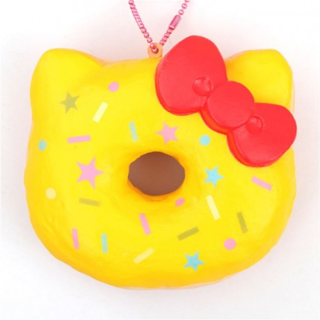 Hello Kitty Donut Squishy Size : yellow colorful star shape Hello Kitty donut squishy charm - Cute Squishy Shop