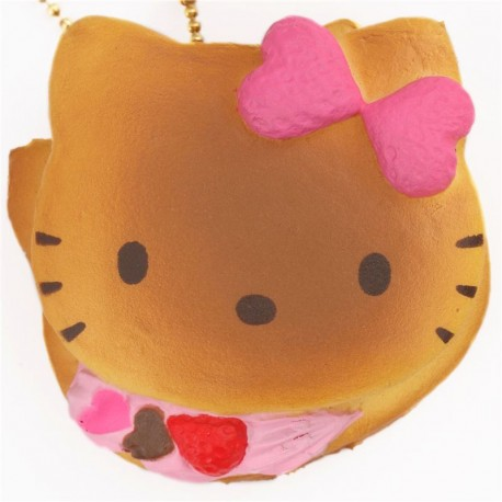 cute Hello Kitty pink cream pancake squishy charm cellphone charm - Cute Squishy Shop