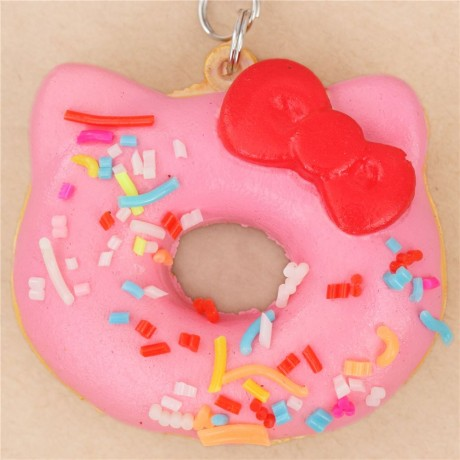 Squishy Pink Donut : exclusive small pink sprinkles Hello Kitty donut squishy charm - Cute Squishy Shop