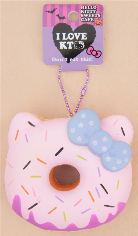 Hello Kitty Donut Squishy Size : pink icing Halloween pumpkin Hello Kitty donut squishy charm - Cute Squishy Shop